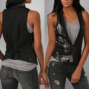 Rag & Bone Black Soiree Sequin Vest Size 4 or S